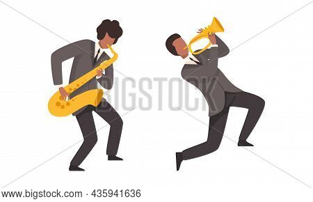 Man Musician Character Performing Music Playing Saxophone And Trumpet Vector Set