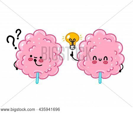 Cute Funny Sweet Cotton Sugar Candy With Question Mark And Idea Lightbulb. Vector Hand Drawn Cartoon