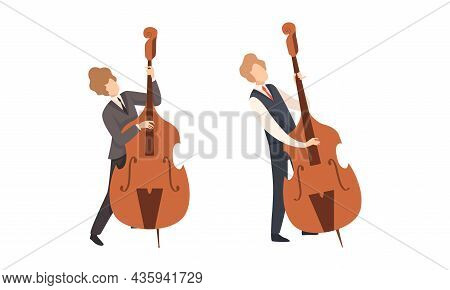 Man Musician Character Performing Music Playing Double Bass Vector Set