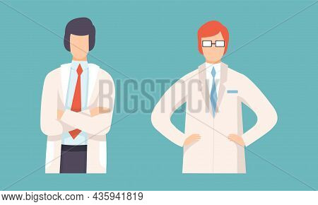 Man Doctor In White Coat With Arms Folded Vector Set