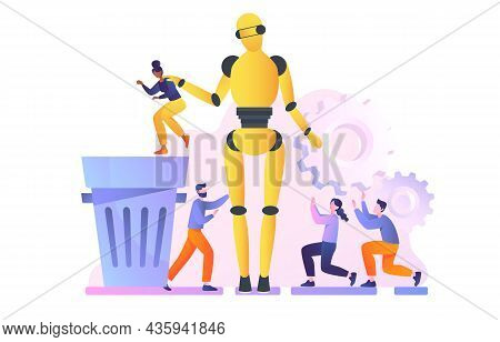 Large Robot Throws Employees Into Trash. Droid Replaces Real People At Work. Artificial Intelligence