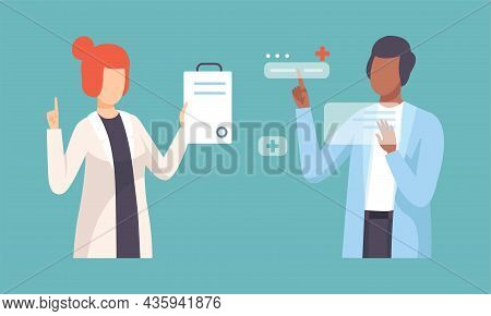 Young Man And Woman Doctor In White Coat Vector Set