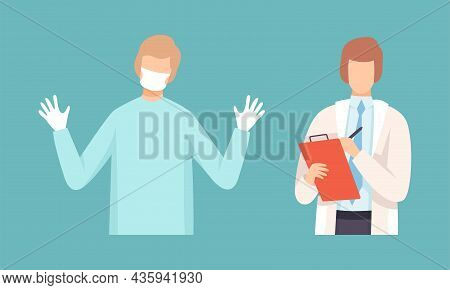 Man Doctor In Coat, Mask And Gloves And Holding Clipboard Vector Set