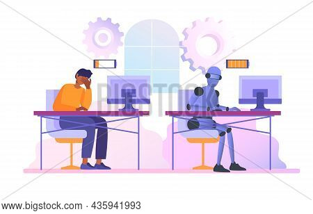 Robot And Human Comparisons Concept. Male Employee Tired Of Tasks, And Cyborg With Full Charge Of En