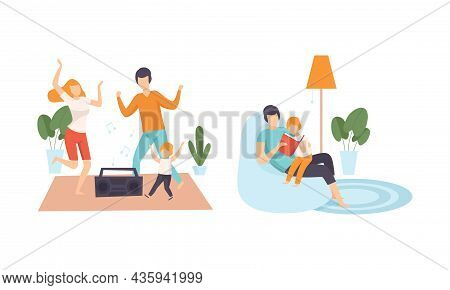 Happy Family With Man And Woman Parent With Kid Spending Good Time Together Dancing To Music And Rea