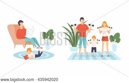 Happy Family With Man And Woman Parent With Kid Spending Good Time Together Doing Physical Exercise