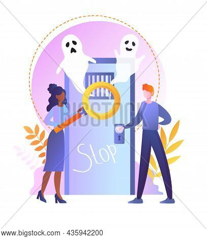 Escape Room Concept. Friends Get Out Of Trap With Ghosts And Think About Solution Of Quest. Interest