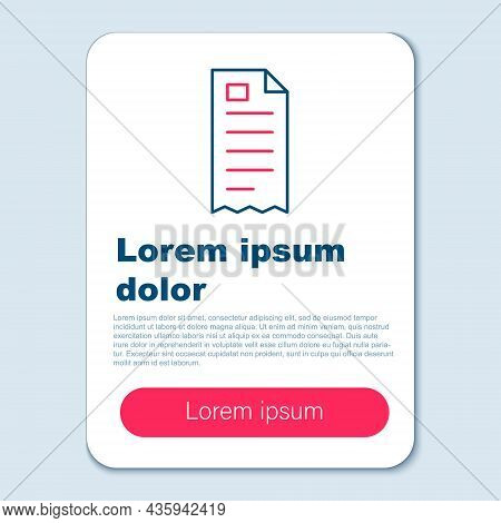 Line Paper Check And Financial Check Icon Isolated On Grey Background. Paper Print Check, Shop Recei