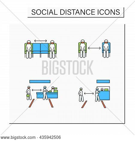 Social Distance Color Icons Set. Corona Virus Pandemic Safety Recommendations. Keep Distance At Shop
