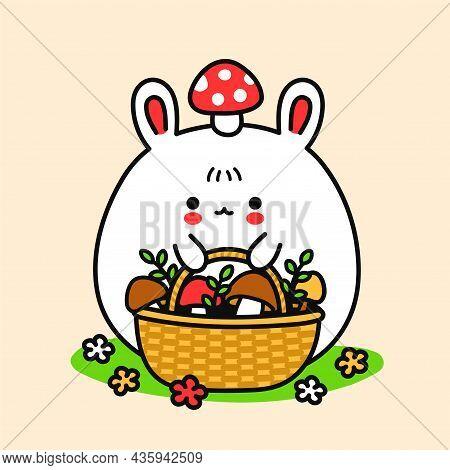 Cute Funny Bunny With Basket And Amanita Mushroom On Head. Vector Hand Drawn Cartoon Kawaii Characte
