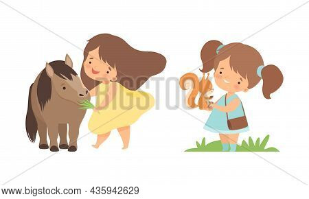 Cute Little Girl Interacting With Animal In Petting Zoo Vector Set
