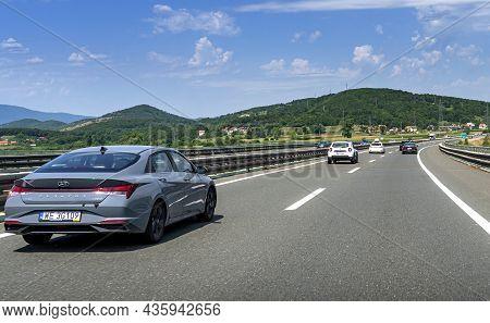 Plitvice, Croatia - July 30, 2021: Hyundai Elantra Drives On The Highway In Plitvice, Croatia.