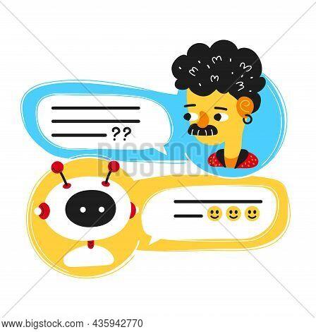 Cute Smiling Ai Chat Bot Written With Person Man, Messenger App Screen.vector Flat Cartoon Character