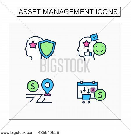 Asset Management Color Icons Set. Financial Resources. Intellectual Property, Accounting Goodwill, A