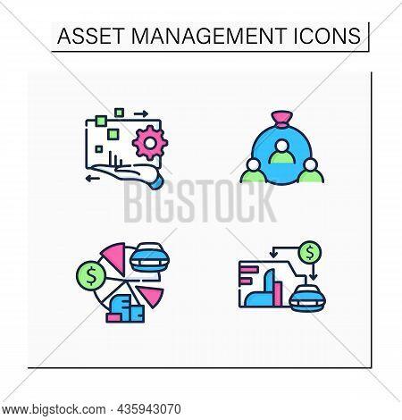 Asset Management Color Icons Set. Financial Resources. Digital Management, Human Capital, Total Asse