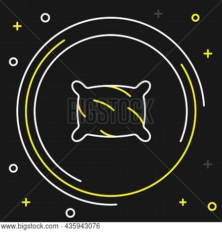 Line Rectangular Pillow Icon Isolated On Black Background. Cushion Sign. Orthopedic Pillow. Colorful