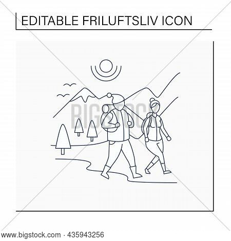 Friluftsliv Line Icon. Family Hiking. Man And Woman Walking. Nice Weather. Mountain Landscape.nordic