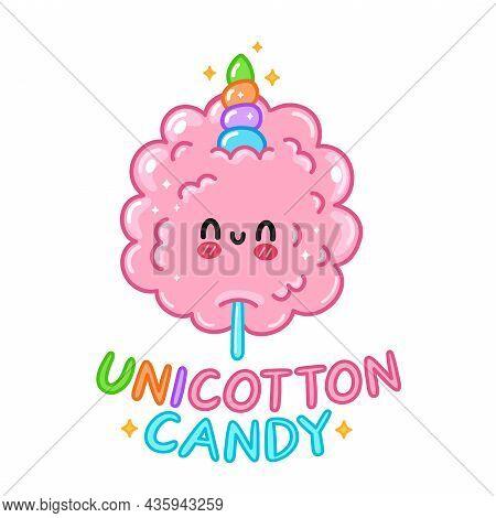 Cute Funny Sweet Cotton Sugar Candy With Unicorn Horn. Vector Hand Drawn Cartoon Kawaii Character Il
