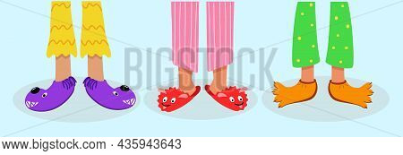 Children Feet In Colored Pajamas And Funny Slippers. Vector Illustration Of Home Sleeping Clothes An