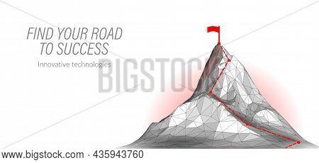 Reach The Top Business Success Concept. Challenge Teamwork Triumph Leader Work. Mountain Top Point G