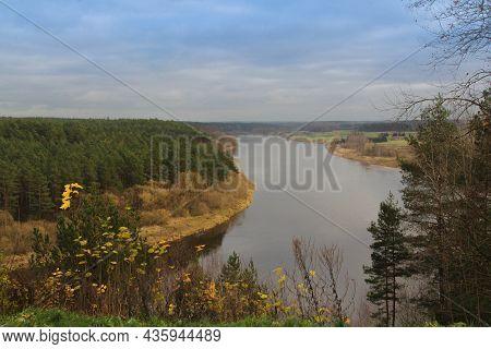 Balbieriskis Outcrop In Prienai District Nemunas Loops Regional Park. Nemunas River From The Balbier