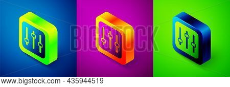 Isometric Sound Mixer Controller Icon Isolated On Blue, Purple And Green Background. Dj Equipment Sl