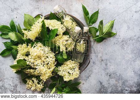 Fresh Elder Flowers In A Metal Tray  On Rustic Gray Background. Top View, Blank Space