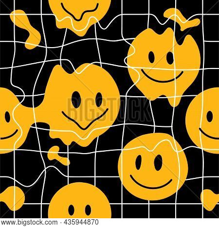 Black And White Distorted Grid And Melt Smile Face. Vector Illustration. Deforn Grid, Distortion, Te