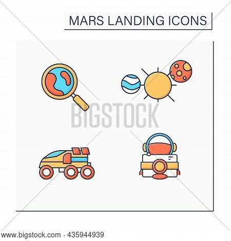 Mars Landing Color Icons Set. Uninhabited Planet. Solar System, Astronaut Camera, Perseverance Rover