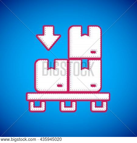 White Cardboard Boxes On Pallet Icon Isolated On Blue Background. Closed Carton Delivery Packaging B