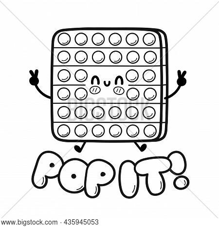 Cute Funny Pop It, Popit Toy Jump. Vector Hand Drawn Cartoon Kawaii Character Illustration Icon. Iso