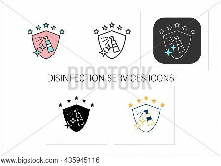 Disinfection Services Icons Set.sanitary, Epidemiological Control.preventative Measures.preventing V