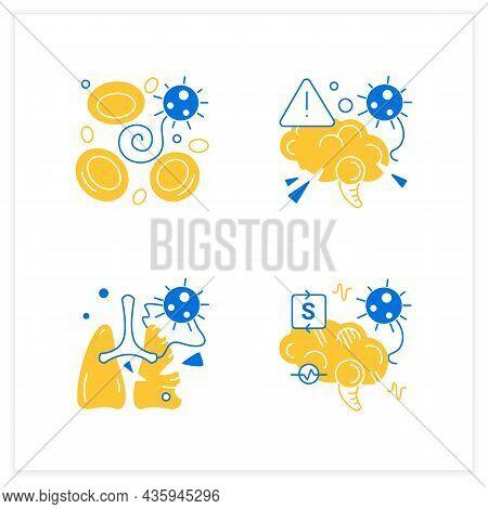 Corona Virus Effects Flat Icon Set. Covid Long Term System Health Damage. Neurological Disorder, Blo