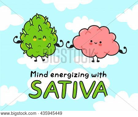 Cute Weed Cannabis Bud And Brain Show Muscle. Mind Energizing With Sativa Quote. Vector Cartoon Char