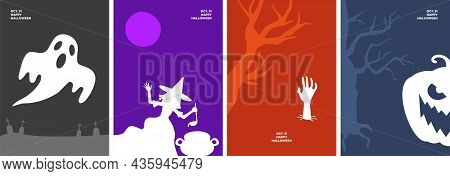 Happy Halloween Poster Set With Holiday Symbols. Ghost In Cemetery, Witch Brews Magic Potion In Caul