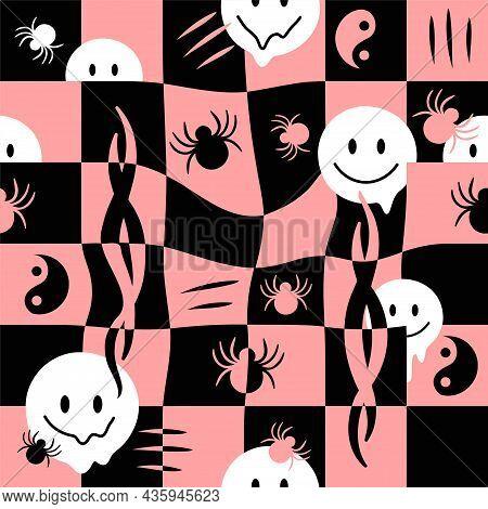 Melt Smile Face, Check Grid, Spider Seamless Pattern.vector Hand Drawn Doodle Cartoon Illustration.