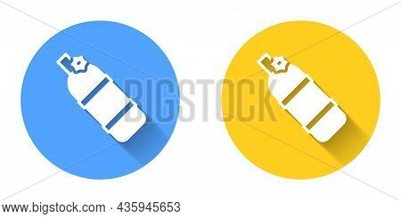 White Aqualung Icon Isolated With Long Shadow Background. Oxygen Tank For Diver. Diving Equipment. E