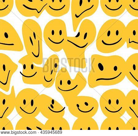 Funny Melt Smile Faces Seamless Pattern.vector Hand Drawn Doodle Cartoon Character Illustration. Smi