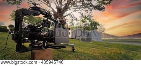 Behind The Video Camera That For Recording Movie At Outdoor Location.