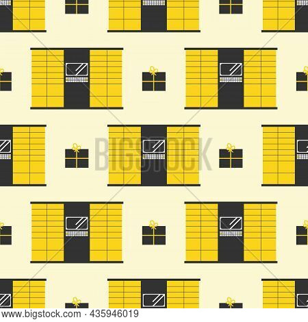 Yellow Parcel Station, Parcel Locker, Postamat And Boxes Vector Seamless Pattern Background.