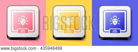 Isometric Colorado Beetle Icon Isolated On Pink, Yellow And Blue Background. Square Button. Vector