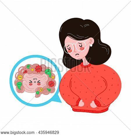 Sad Sick Young Women With Intestine Microflora Problem. Vector Flat Cartoon Illustration Icon Design