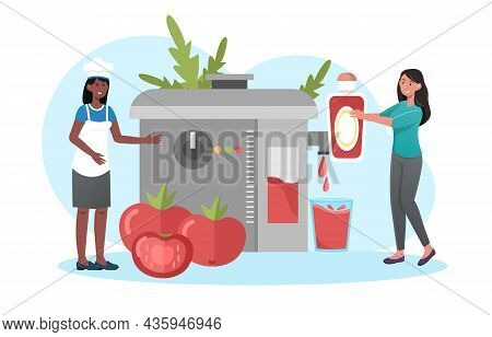 Cooking Ketchup Concept. Women Make Tomato Paste From Fresh Vegetables. Electric Device Grinds Tomat