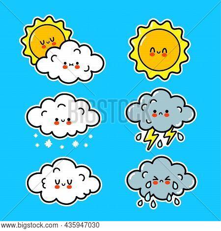Cute Happy Funny Weather Icons. Vector Hand Drawn Cartoon Kawaii Character Illustration Sticker Logo