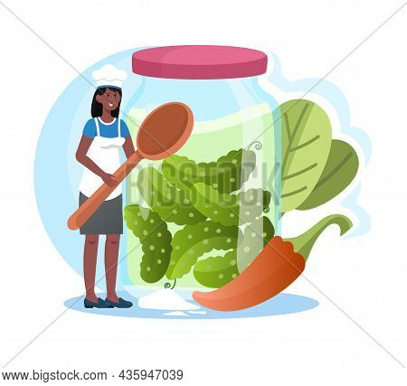Pickling Vegetables Concept. Woman Prepares Canned Pickles With Pepper In Glass Jar. Marinated Food