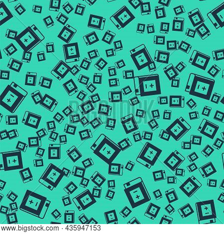 Black Book With Mathematics Icon Isolated Seamless Pattern On Green Background. Math Book. Education