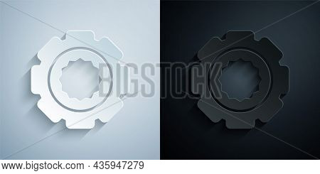 Paper Cut Gear Icon Isolated On Grey And Black Background. Cogwheel Gear Settings Sign. Cog Symbol.