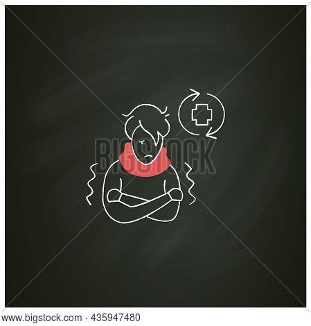 Ill Person Chalk Icon.covid Reinfected Or Re-ill Person Suffering Shivers And High Fever.covid Disea