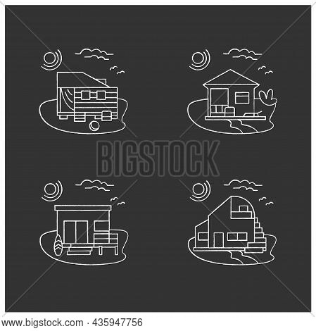 Beach Hut Chalk Icons Set. Modern Facade Comfortable Houses On Beach. Perfect Relax Place. Seascape.
