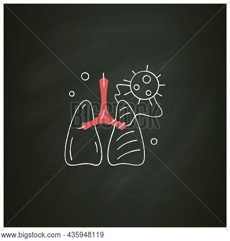 Covid Pneumonia Chalk Icon.virus Caused Lungs Blockage.frequent Corona Virus Effects, Acute Respirat